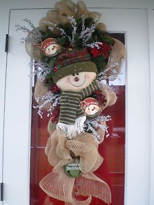 swags wreaths christmas | Christmas Holiday Winter Snowman Teardrop Swag Burlap Door Wreath ...
