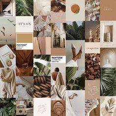 Boujee Boho #2 Aesthetic Wall Collage Kit (Digital Download) 70pcs - Earth Green Brown VSCO Girl Trendy, Bedroom Decor, Dorm Room