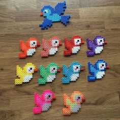 Rainbow birds hama beads by mediegiraf: