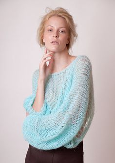 Mint blue cropped sweater with bat wing sleeves loose от beWoolen