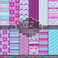 "Tribal digital paper: ""LILAC TRIBAL"" with tribal patterns and tribal backgrounds, arrows, feathers, leaves, chevrons in lilac and blue"
