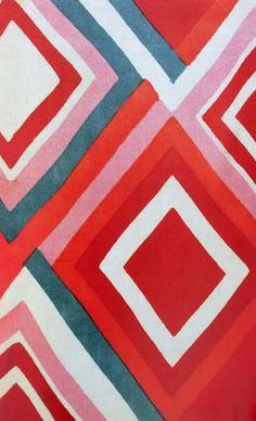 L'artiste est Sonia Delaunay. Elle a utiliser de l'acrylique sur toile. Comme couleur il y a du rouge, rose, bleu, orange & blanc. Les formes utiliser est des losanges. Lorsque j'ai vue cette toile de simplicité parce que ses juste des formes simples et faciles a faire. J'aime cette toile parce que ces simple et faciles a faire comme j'ai dit plus tôt et j'aime beaucoup les couleurs.