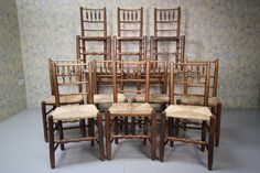 True Set Of Ten Yorkshire Dales Antique Dining Chairs