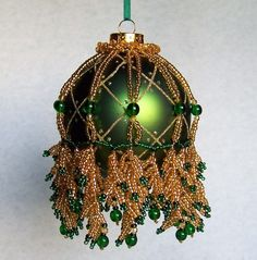 Beaded Ornament Cover Green and Gold leaf