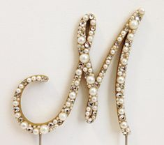 Handmade, monogram cake topper with pearls and high quality rhinestones - made to your custom specifications!