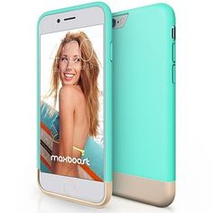 iPhone 6 Case, Maxboost® [Vibrance Series] iPhone 6 Case [Lifetime Warranty] Protective SOFT-Interior Scratch Protection Metallic Finished Base with Vibrant Trendy Color Slider Style Hard Case for iPhone 6 inch) – Turquoise / Champagne Gold Cool Iphone Cases, Hard Phone Cases, Iphone 6 Plus Case, Cute Phone Cases, Apple Iphone 6, Best Iphone, Thing 1, Cute Cases, Turquoise
