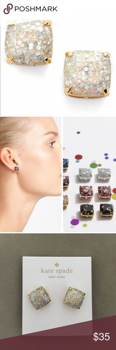 """Square opal Glitter studs earrings About 0.5""""/10mm, post back. Brand new in package. Free pouch & gift box. Kate Spade Jewelry Earrings"""