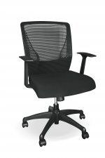 A stylish black mesh back operators chair with lumbar support and a matching visitors chair. Black Mesh, Chairs, Furniture, Home Decor, Decoration Home, Room Decor, Home Furnishings, Stool, Side Chairs