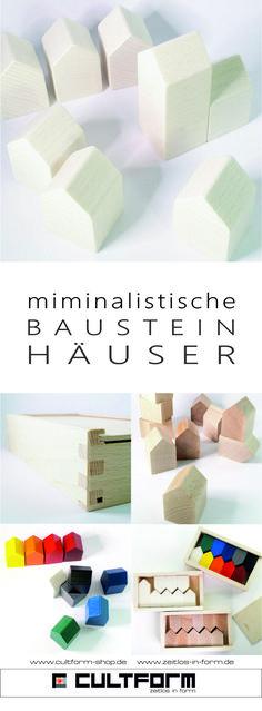 minimalistische Design Bausteine als kleine Häuser in traditioneller Herstellung von Cultform #cultform #Bausteine #Häuschen #minimalistisch #design