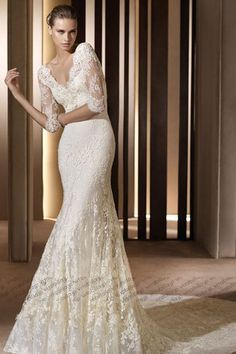 スレンダーライン ウェディングドレス チャペルトレーン Vネック レース オフホワイト 004570001007