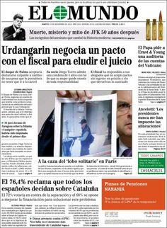 Los Titulares y Portadas de Noticias Destacadas Españolas del 19 de Noviembre de 2013 del Diario El Mundo ¿Que le pareció esta Portada de este Diario Español?