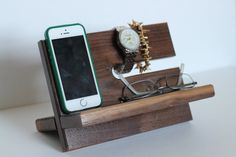 Premium Walnut Valet Gorgeous Wood Reclaimed Valet Universal iPhone Galaxy Charging Stand Dock Graduation Father's Day Fitbit Jawbone