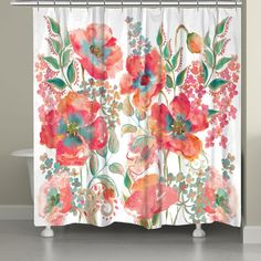 This shower curtain featuring watercolor poppies in warm hues is a unique addition to your bathroom. All of our products are digitally printed to create crisp, vibrant colors and images. Made to order