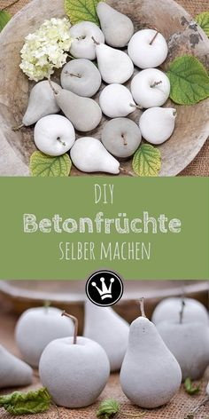 Herbstdeko DIY: Fruits made of concrete using impression silicone .- Herbstdeko DIY: Früchte aus Beton mithilfe von Abform-Silikon DIY: Make apples and pears out of concrete with the help of impression silicone. Diy Garden Projects, Diy Garden Decor, Projects To Try, Garden Crafts, Garden Art, Concrete Crafts, Concrete Projects, Concrete Art, Fall Crafts