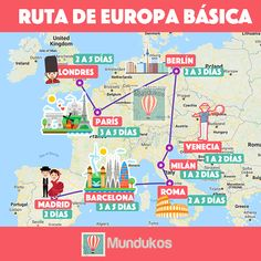 Un viaje por los países básicos de Europa normalmente comprende las principale. A trip through the basic countries of Europe usually includes the main cities of Spain, France, Italy, England and Ger Travel Planner, Travel List, Travel Goals, Travel Guide, Places To Travel, Travel Destinations, Travelling Tips, Traveling, Eurotrip