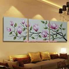 Hand painted Oil Canvas Wall Art home Decor abstract flowers NO Frame 3 Piece Canvas Art, Mini Canvas Art, Canvas Wall Art, Fabric Painting, Diy Painting, Easy Paintings, Watercolor Paintings, Abstract Flowers, Flower Art