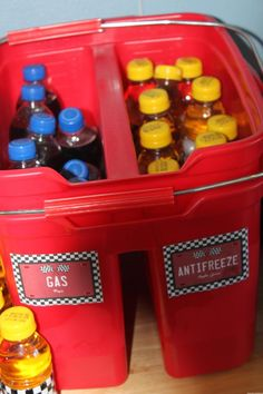 Racing Themed Drinks - Gas & Antifreeze Monster Truck Party, Monster Trucks, Race Cars, Birthday Parties, Racing, Party Ideas, Events, Drinks, Kids