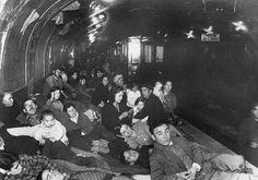 9 December 1936. Civilians in a subway platform air raid shelter Madrid Spain.