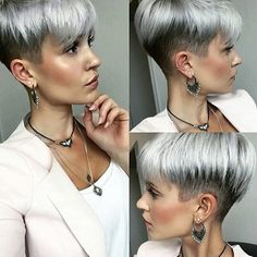 New Pixie Haircut Ideas in 2019 The UnderCut Undercut Pixie Haircut ideas longpixiehaircuts Pixie Undercut Longer Pixie Haircut, Short Pixie Haircuts, Pixie Hairstyles, Undercut Pixie Haircut, Haircut Short, Boy Haircuts, Short Grey Hair, Short Hair Cuts For Women, Short Hair Styles
