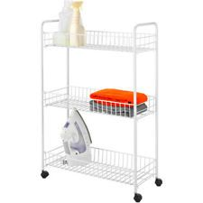 Laundry Room Storage Cart Slim Inline Rolling Easy Access 3 Shelf