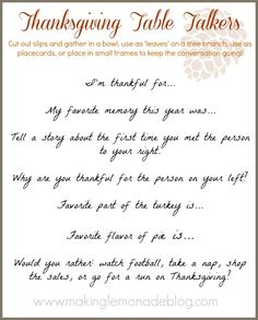 Free Printable: Thanksgiving Table Talkers (print this out and spark fun conversation on Thanksgiving; fun for kids, too!)