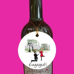NYC Engagement Winter Engagement Wine Tag/Ornament