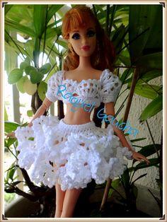 #Barbie #Doll #Roupa #Crochet #Saia #Blusa #Muñeca #Cléa5 #RaquelGaucha