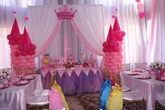 kids birthday party balloon decorations on princess theme party decorations Disney Princess Birthday Party, Princess Theme Party, 1st Birthday Girls, Birthday Party Venues, Birthday Decorations, Birthday Parties, Princess Birthday Centerpieces, Chiavari Chairs, Party Ideas