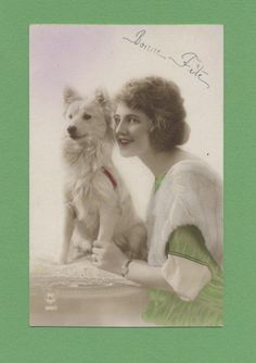 MA2319 FLAPPER WITH WHITE DOG, RPPC 1925, HAND. COL