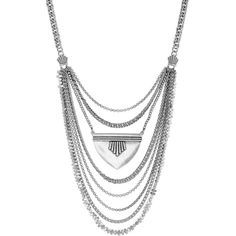 Lucky Brand Major Bib Necklace (86 AUD) ❤ liked on Polyvore featuring jewelry, necklaces, silver, bib necklace, strand necklace, lucky brand necklace, lucky brand jewellery and silver tone necklace