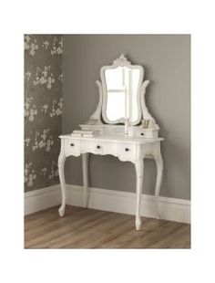 Buy La Rochelle Antique French Dressing Table Set from our French Furniture range - @ Homesdirect 365 White Dressing Tables, Vintage Dressing Tables, Dressing Table Set, Dressing Room, Shabby Chic Bedroom Furniture, Discount Bedroom Furniture, Furniture Decor, Retro Furniture, Bedroom Decor