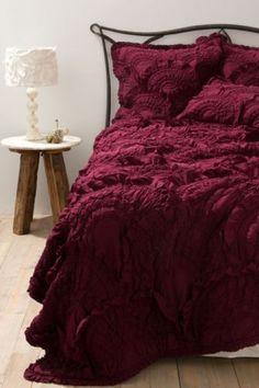 NIP Anthropologie Rivulets Queen Quilt w 2 Euro Shams Wine Comforter Bedding | eBay
