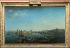 Joseph VERNET Avignon, 1714 - Paris, 1789  L'entrée du port de Marseille  1754  H. : 1,65 m. ; L. : 2,63 m.  La série des Ports de France a été commandée en 1753 par le marquis de Marigny pour glorifier une des richesses économiques de la France de Louis XV. Au cours d'un long périple, Vernet, représenté ici au premier plan avec son fils et son épouse, a exécuté quinze toiles, dont treize sont déposées au Musée de la Marine à Paris.