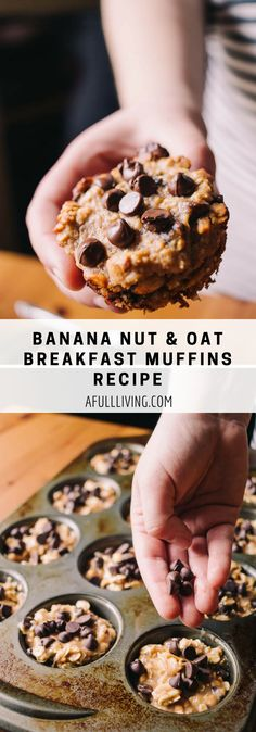 Looking for a quick, tasty breakfast or snack that is packed with protein and easy to make? These banana nut and oat breakfast muffins will satisfy your cravings, fill you up and keep you on track with your healthy eating choices! Banana Nut Muffins, Banana Nut Bread, Banana Breakfast Muffins, Breakfast Cupcakes, Classic Desserts, Healthy Muffins, Muffin Recipes, Yummy Food, Yummy Recipes