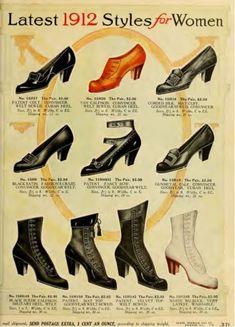 Edwardian fashion: shoes, latest 1912 styles for women - sears catalog Retro Mode, Vintage Mode, Moda Vintage, Vintage Stil, Style Vintage, Vintage Shoes, Vintage Outfits, Vintage Beauty, Belle Epoque