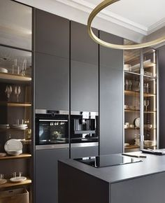 New kitchen remodel ideas modern design trends 45 ideas Modern Kitchen Interiors, Modern Kitchen Cabinets, Modern Kitchen Design, Interior Design Kitchen, Kitchen Industrial, Kitchen Shelves, Modern Kitchen Lighting, Marble Interior, Glass Cabinets