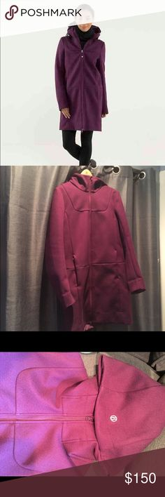 Lululemon City Softshell Jacket in Plum. Size 10 Wind and water resistant Softshell fabric with four way stretch. Tricot fabric lining in pocket and hood for extra coziness! Loose fit with a drop waist and longer length. No tags or labels. Size 10. Metal Lululemon logo on hood. lululemon athletica Jackets & Coats