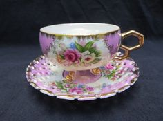 Vintage Shafford porcelain 3 footed tea cup & saucer