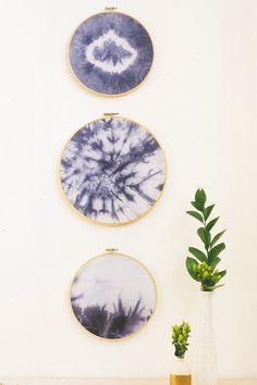 Indigo Embroidery Hoop Wall Hangings