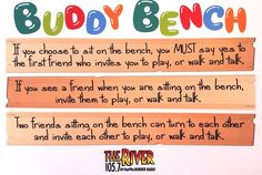 The buddy bench encourages students to be aware or other students. It helps to eliminate loneliness and supports friendships. Buddy Bench, Conscious Discipline, Bullying Prevention, Leader In Me, Character Education, Physical Education, Outdoor Classroom, Student Council, Anti Bullying