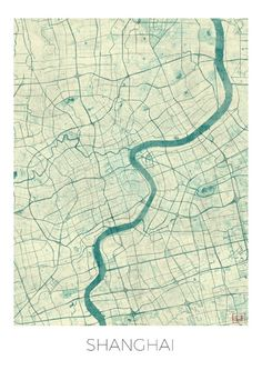 Shanghai Map Blue Vintage Art Print by City Art Posters | Society6