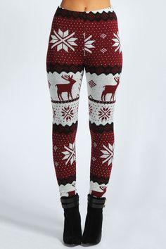 Cozy Renalie Reindeer Knit Leggings