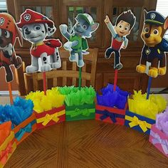 Paw Patrol Birthday Theme Centerpieces for Birthday Candy Buffet or Paw Patrol Favors Table Wood Handcrafted Paw Patrol Theme Party Set of 7 Birthday Candy, 4th Birthday Parties, 2nd Birthday, Baseball Birthday, Baseball Party, Paw Patrol Birthday Decorations, Paw Patrol Birthday Theme, Paw Patrol Party Favors, Cumple Paw Patrol