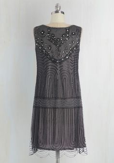 Philharmonic of Time Dress in Smoke. As the music hall dims and the conductor glides onstage, you make a dazzling entrance in this beaded dress! #grey #modcloth