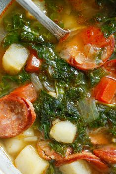 This kale, chorizo and potato soup is hearty and warming. (Photo: Craig Lee for NYT) Sausage Soup, Sausage Recipes, Cooking Recipes, Healthy Recipes, Cooking Kale, Cooked Kale Recipes, Chorizo Soup Recipes, Veggie Sausage, Sausage Potatoes