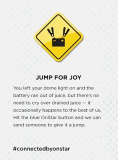 Car battery ran out of juice? Just contact OnStar and we can send someone to give it a jump. onstarconnections.com | #connectedbyonstar #onstar #cars