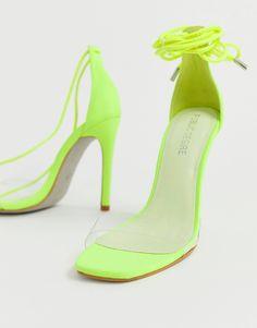 f105c38078f2 Public Desire Vivid neon yellow ankle tie heeled sandals