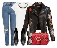 """""""London"""" by monmondefou ❤ liked on Polyvore featuring Topshop, Jennifer Zeuner, Bagatelle, Gucci, STELLA McCARTNEY, black and red"""