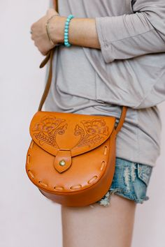 Bohemian Leather Cross Body Bag, Leather Tote Bag, Adjustable Strap Purse, Lily of the Valley Stitched Leather Hand Bag (B1491)