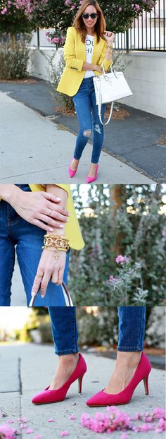 Sydne Style is bringing a classic twist to some fall fashion favorites by pairing our rockstar skinny denim with pink pumps and a blazer that pops. We love this look.  http://www.sydnestyle.com/2014/08/bold-brights/